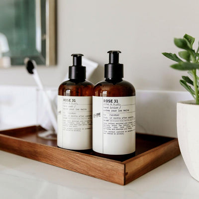 Le Labo Rose 31 hand wash and lotion on tray