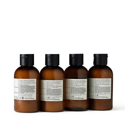 Back of Le Labo Rose 31 travel kit bottles