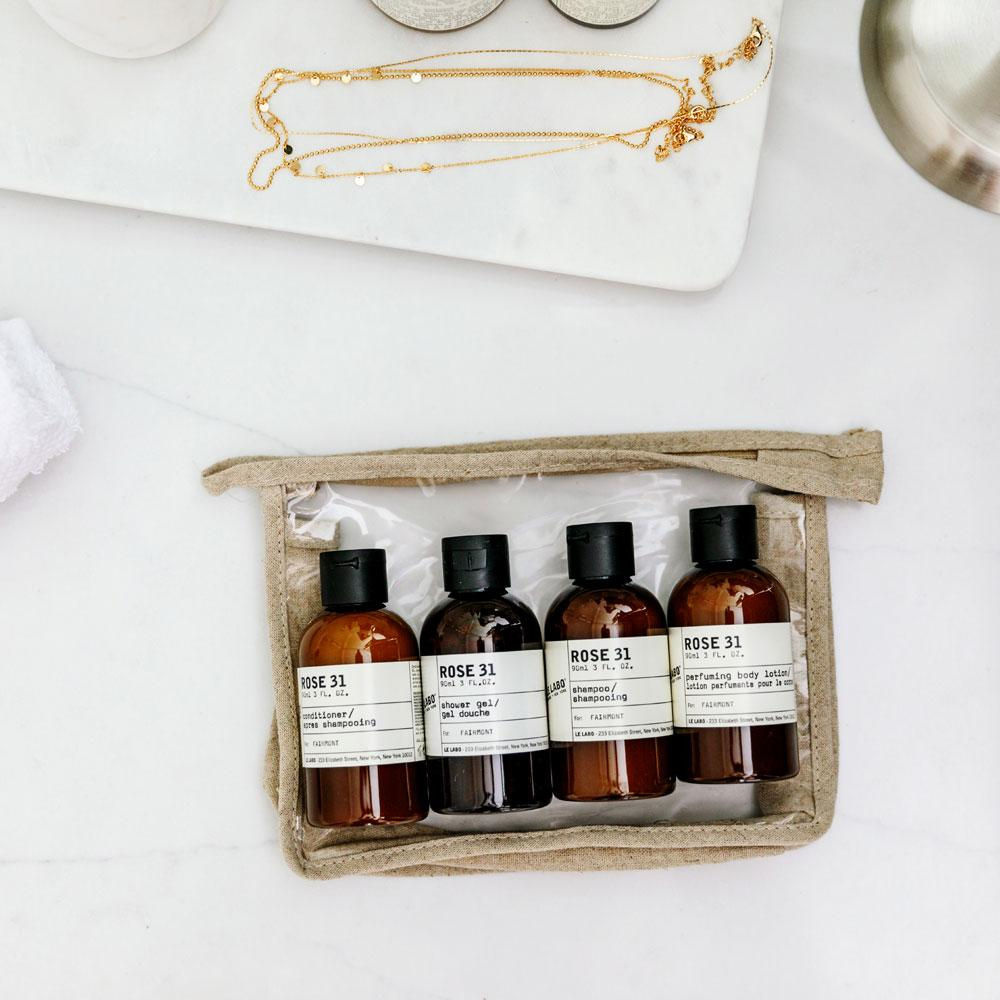 Le Labo Rose 31 Travel Kit with pouch and other items