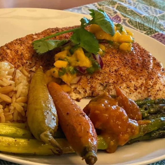 Cajun-Style Halibut with Mango Salsa
