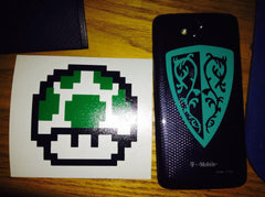 1-UP Mushroom & Dark Souls Grass Shield Vinyl Sticker Decals