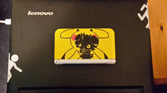Portal lines on laptop and Pikachu 3ds with invasive Espurr Vinyl sticker Decal