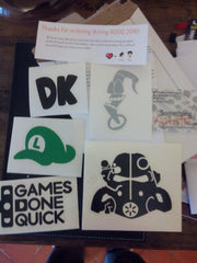 GDQ DK Earthworm Jim Fallout Helm and Luigi hat Vinyl Sticker Decal