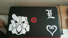 Fallout X01 deathnote L and crowned heart on HP laptop
