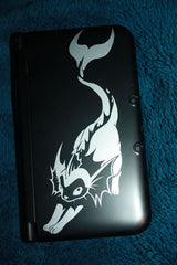 Silver Vaporeon Vinyl Sticker Decal on a 3DS XL