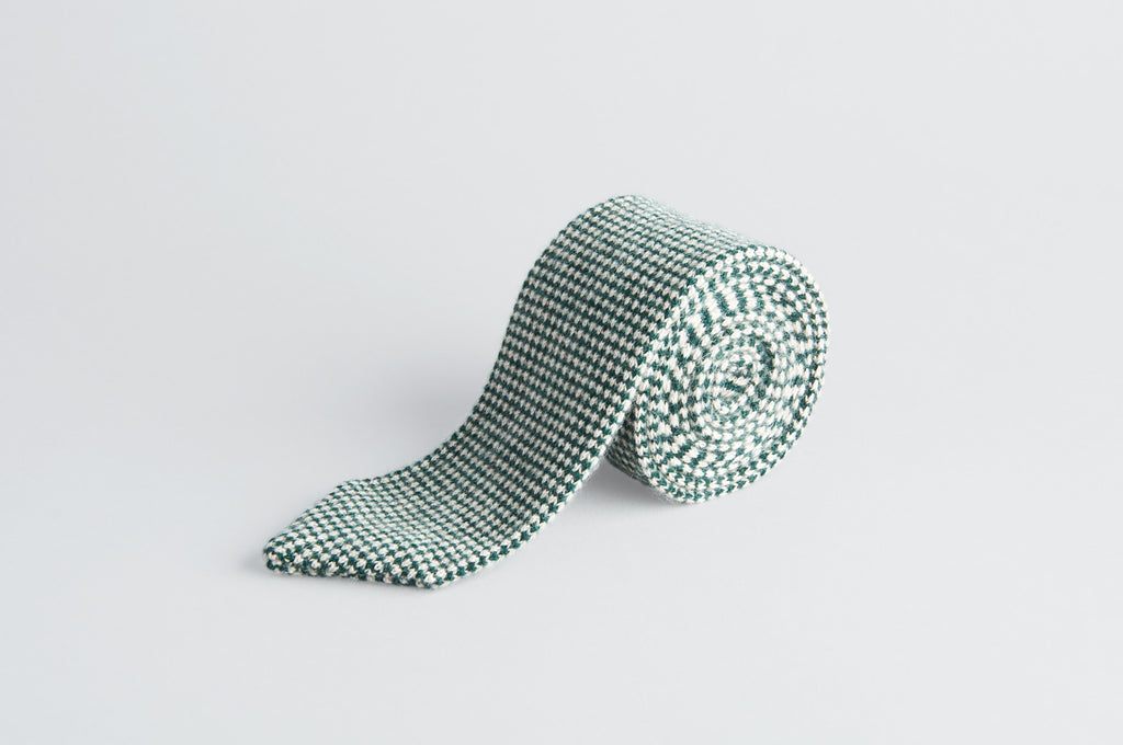 Petronius Knitted Check Green/White Tie