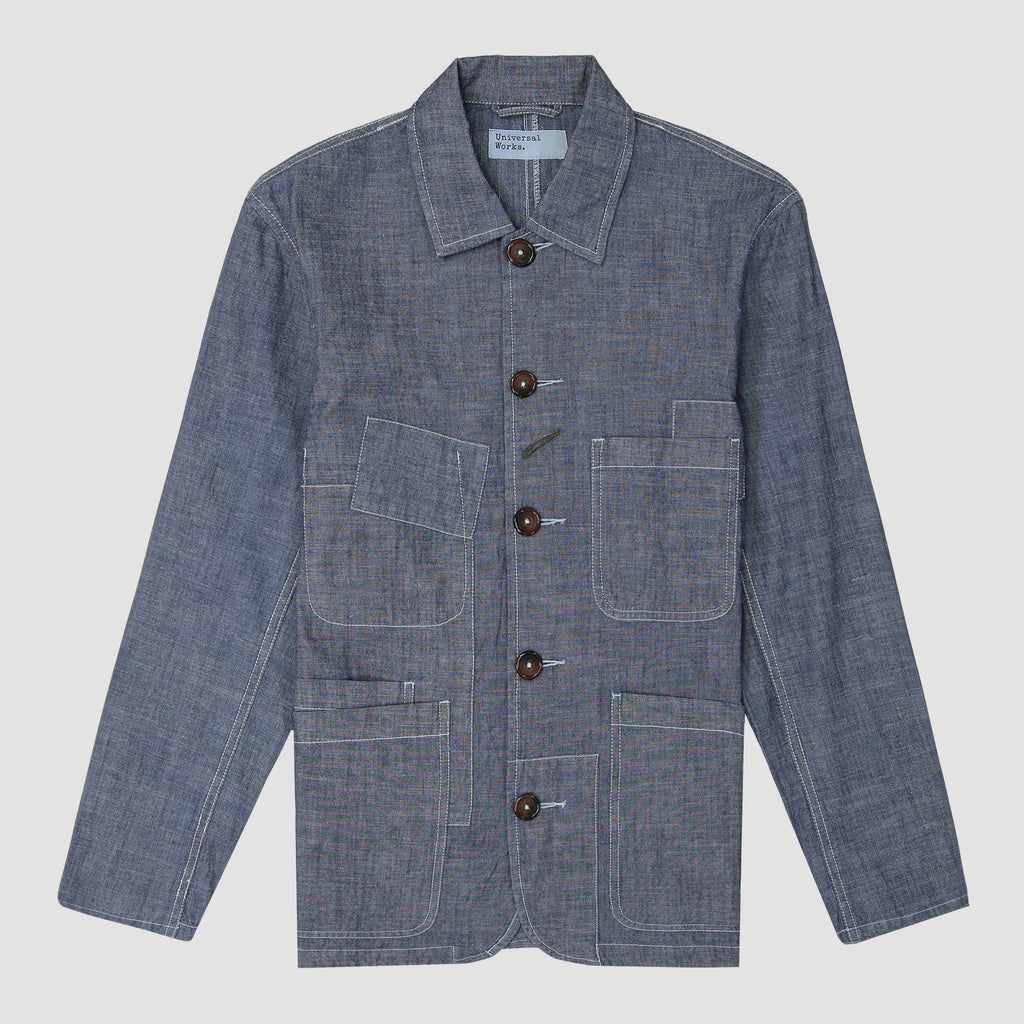 Universal Works Patched Bakers Jacket Chambray Indigo