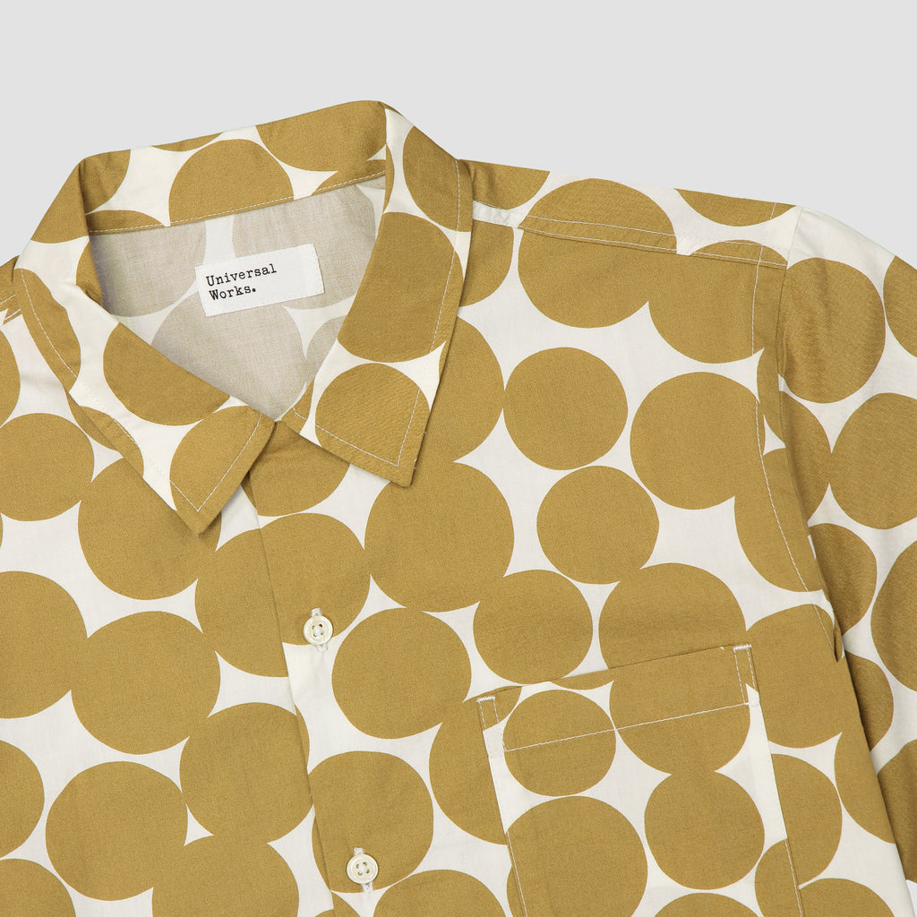 Universal Works Road Shirt Dot Print Poplin Gold