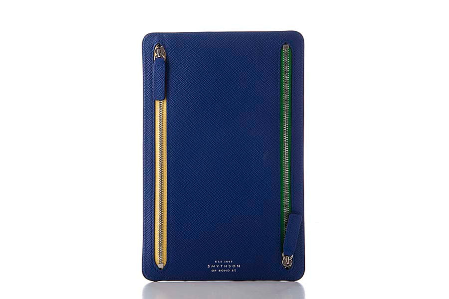 Smythson Panama Zip Currency Case Cobalt