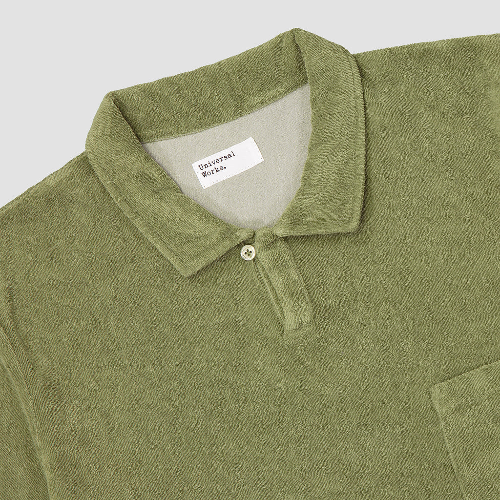 Universal Works Vacation Polo Terry Fleece Olive