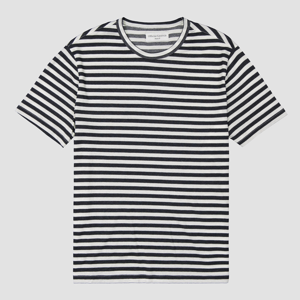 Officine Générale SS Tee Japanese Stripes Tencel Navy & White