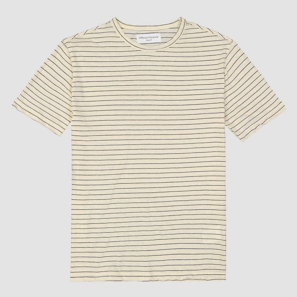 Officine Générale Japanese Cotton Linen Stripe Ecru & Navy