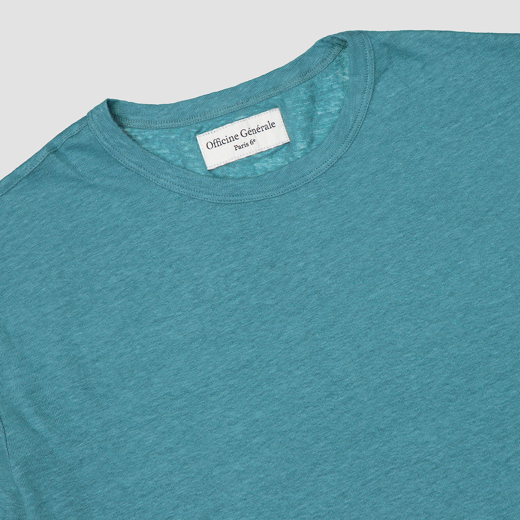 Officine Générale T-Shirt Lightweight Linen Brittany Blue