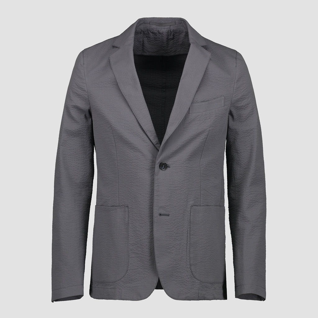Officine Générale Lightest Jacket Cotton Seersucker Denim Blue