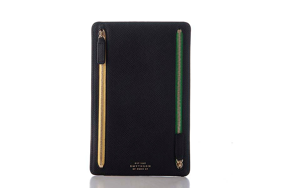 Smythson Panama Zip Currency Case Black