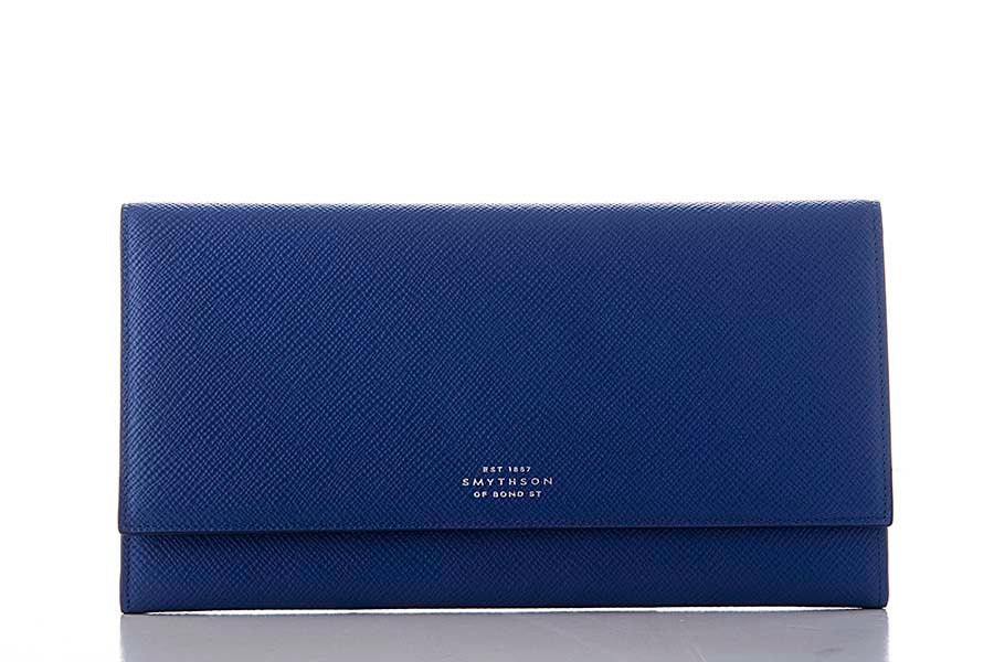 Smythson Marshall Travel Wallet Cobalt