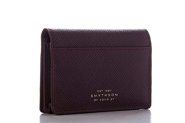 Smythson Panama Business and Credit Card Case Cherry