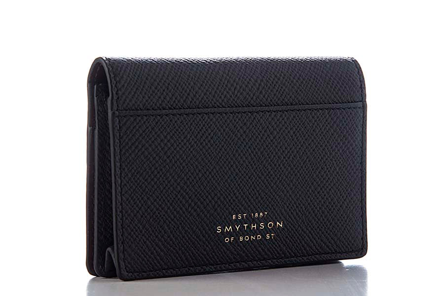Smythson Panama Business and Credit Card Case Black