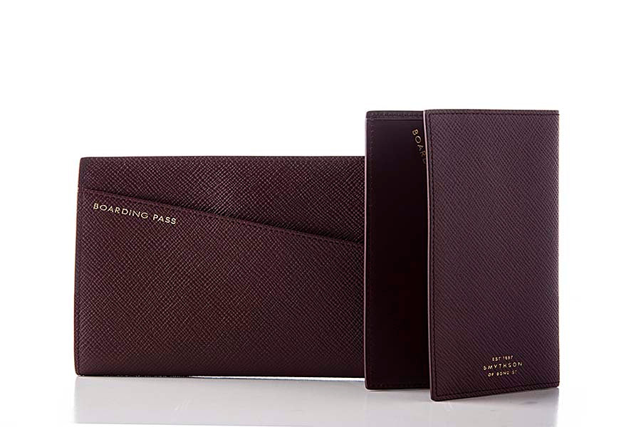 Smythson Panama Slim Travel Wallet Cherry