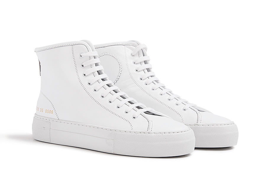 Woman by Common Projects Tournament High Super in Leather White