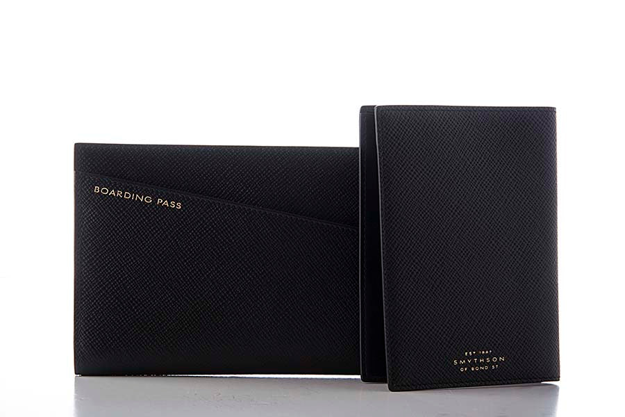 Smythson Panama Slim Travel Wallet Black