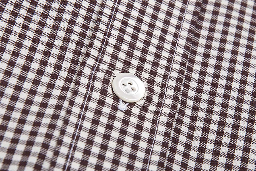 Luciano Barbera Spread Collar Sport Check Brown