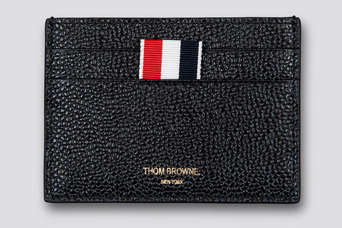 Thom Browne Single Card Holder Black Pebble Grain