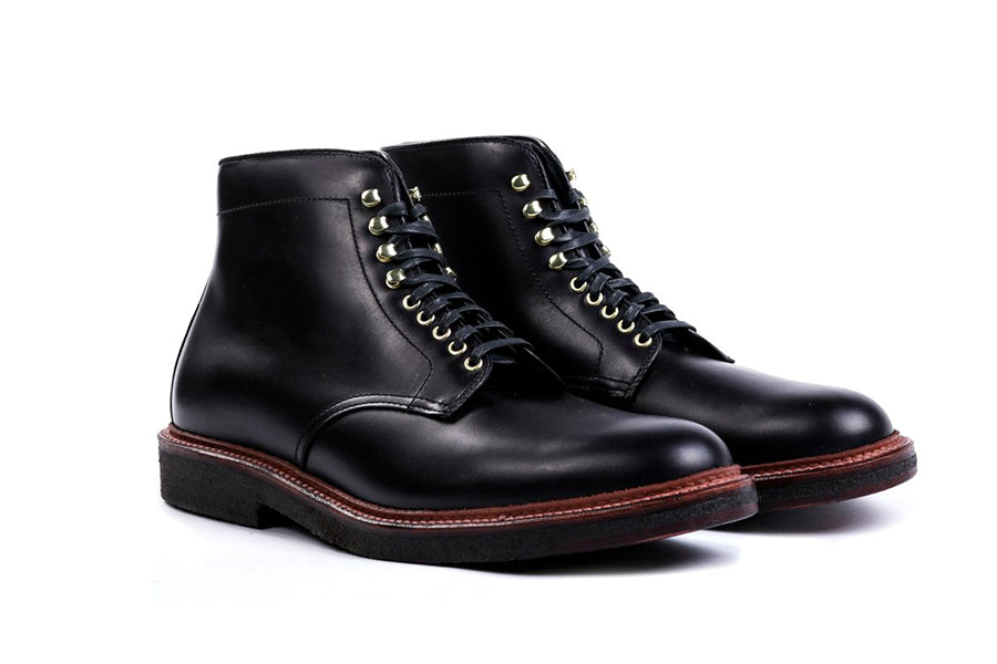 Alden Plain Toe Boot Black Calf