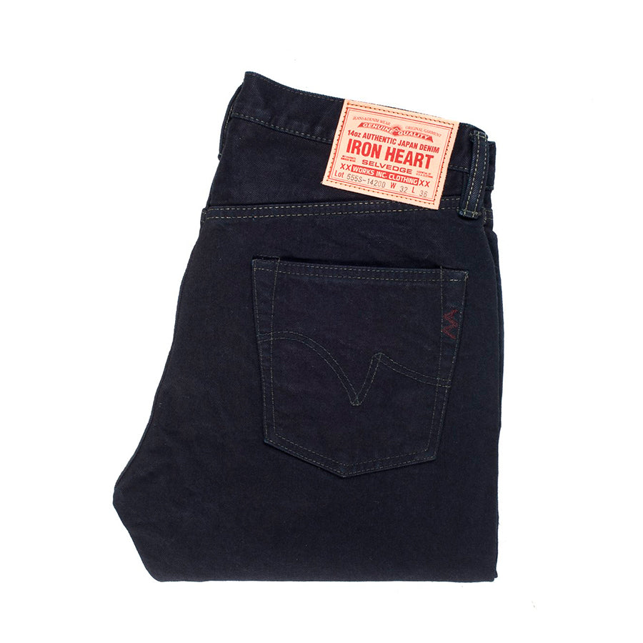Iron Heart IH-555S-142od 14oz Super Slim Indigo Overdyed Black