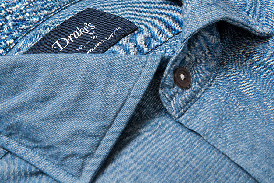 Drake's Blue Chambray Cotton Shirt with Spread Collar
