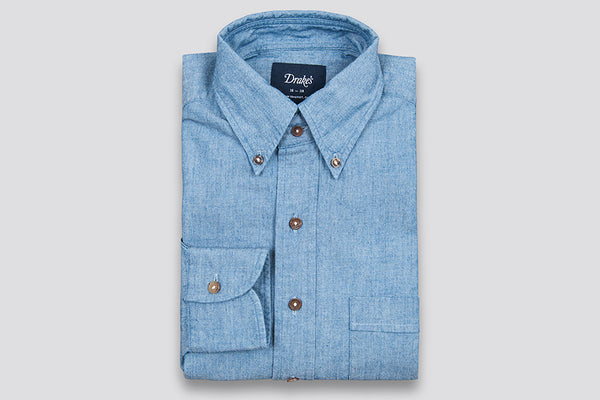 Drake's Blue Chambray Cotton Shirt with Button Down Collar