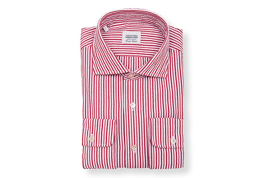Seersucker Stripe Slim Red Shirt