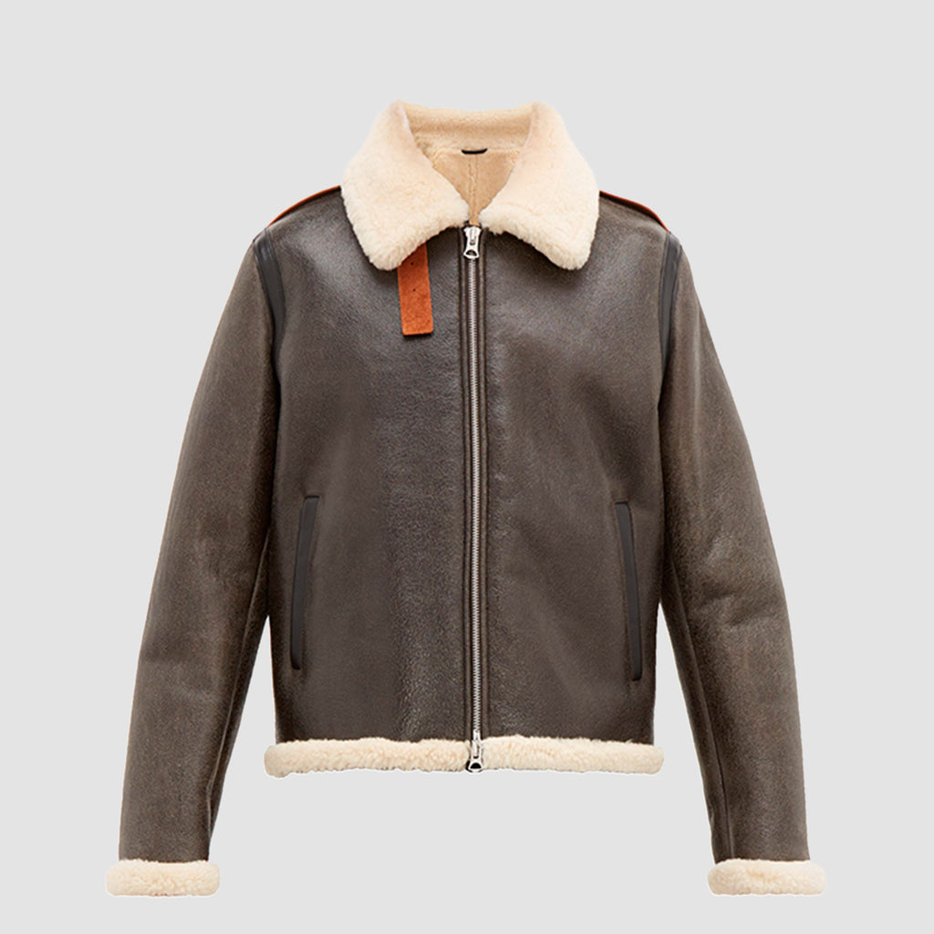 Messhe leather and shearling jacket