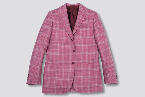 Kiton Men's Red Cashmere-blend Plaid Sport Coat