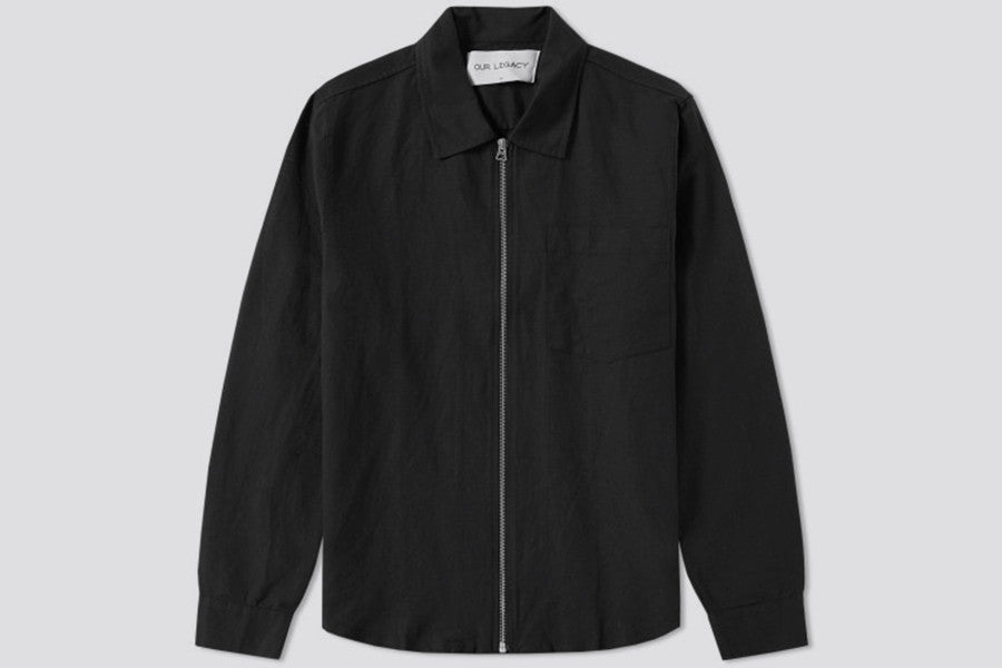 Our Legacy Zip Shirt Washed Black Linen