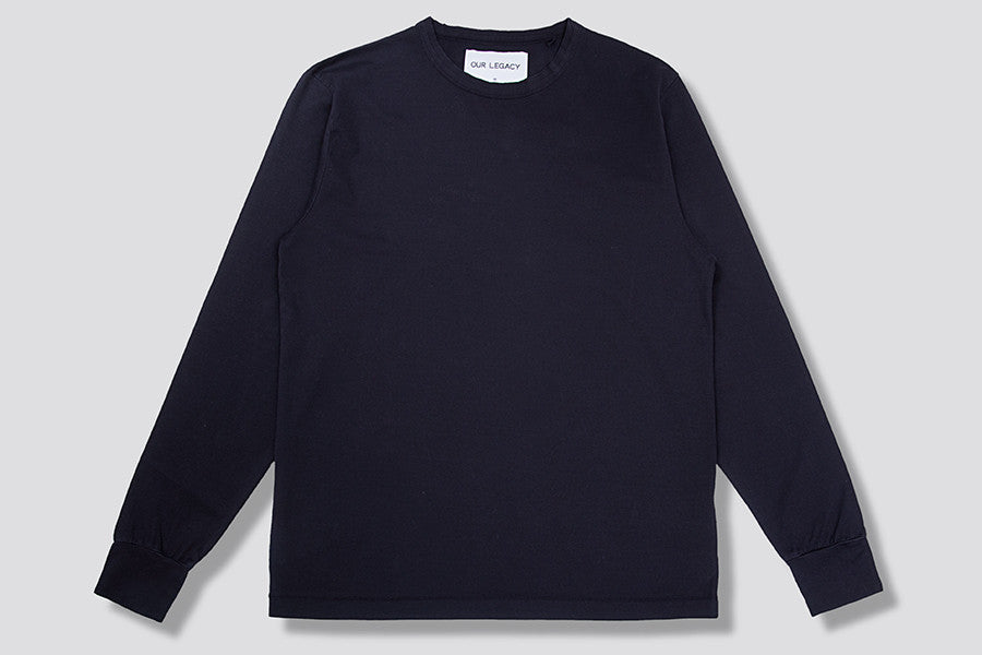 Our Legacy Cuffed Longsleeve in Navy Plain Mercerized