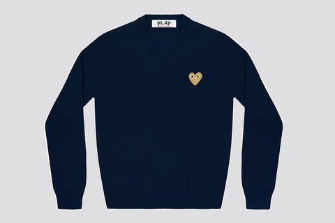 Comme des Garcons PLAY Sweater Neck Gold Heart Navy