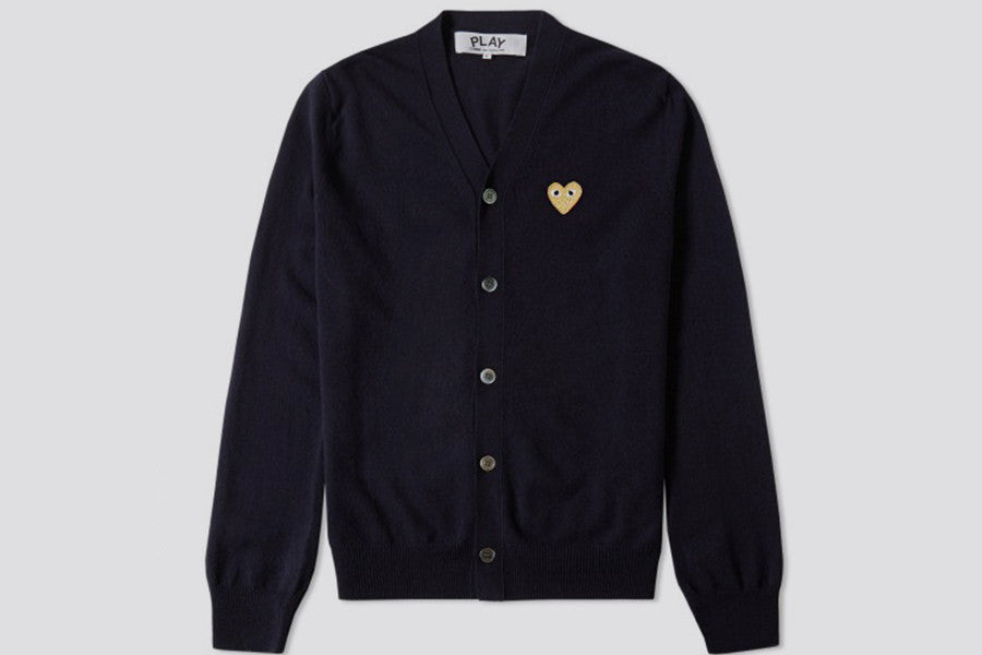 Comme des Garcons PLAY Cardigan Play Gold Heart Navy
