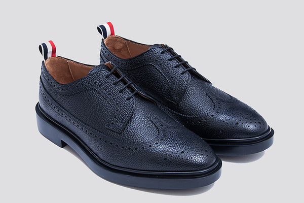 Thom Browne Classic Long Wing Brogue (Lightweight Rubber Sole/Pebble Grain)