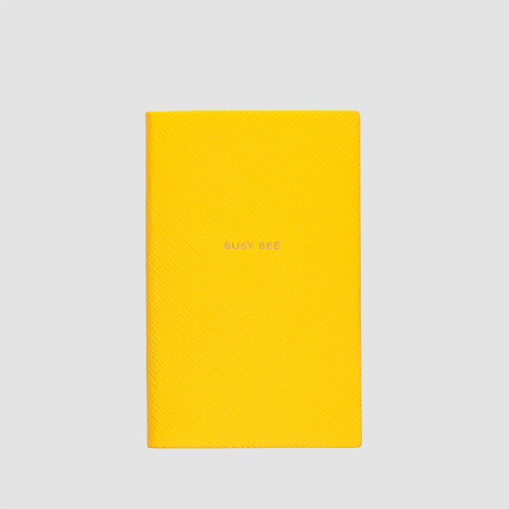 Smythson Busy Bee Panama Notebook Lemon