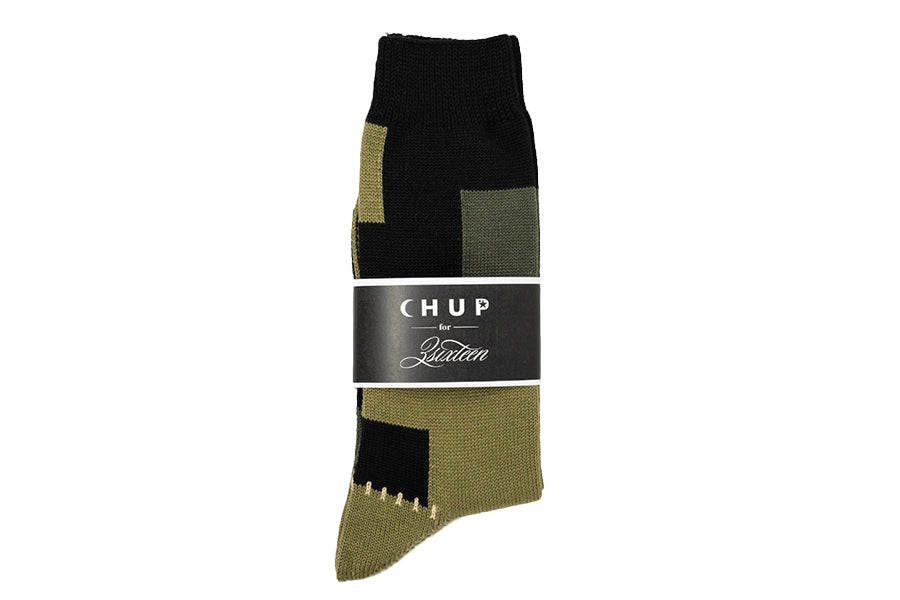 Chup Socks Patchwork Olive & Black