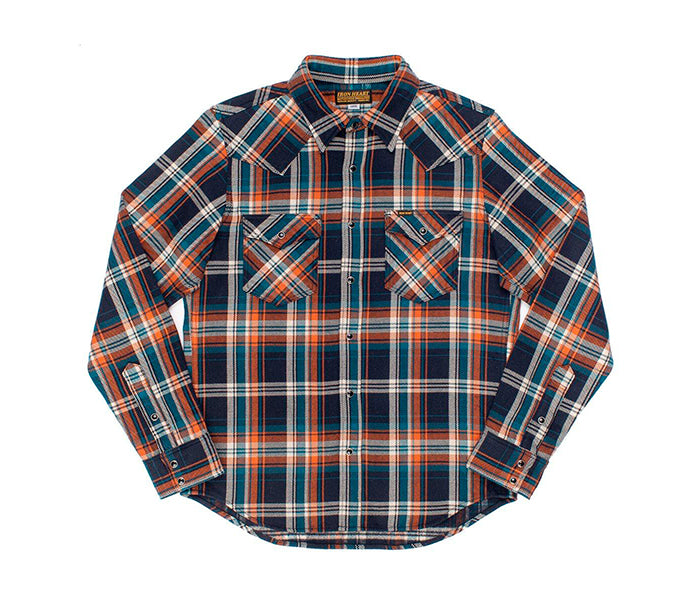 Iron Heart Ultra Heavy Flannel Crazy Check Western Shirt - Navy