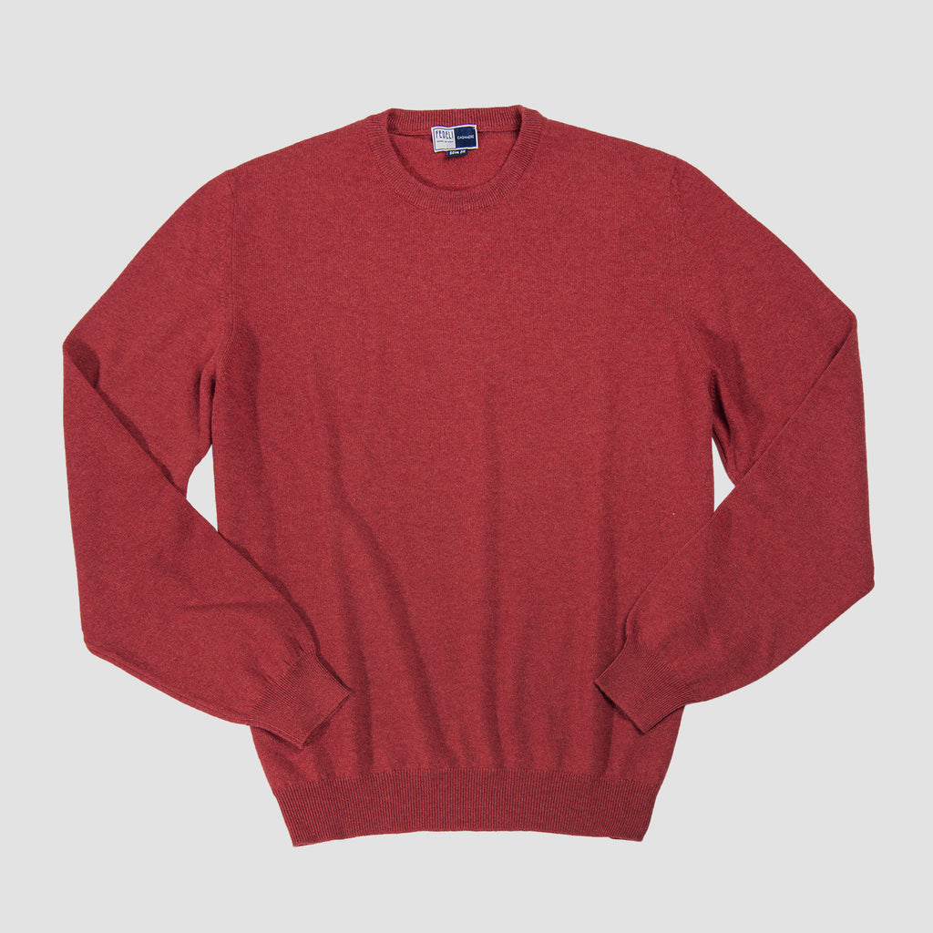 Fedeli Argentina Crew Neck Cashmere Sweater Red
