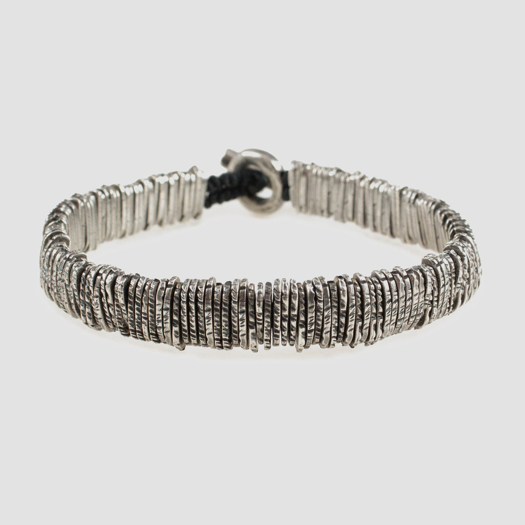 M. Cohen Distressed Silver Barcode