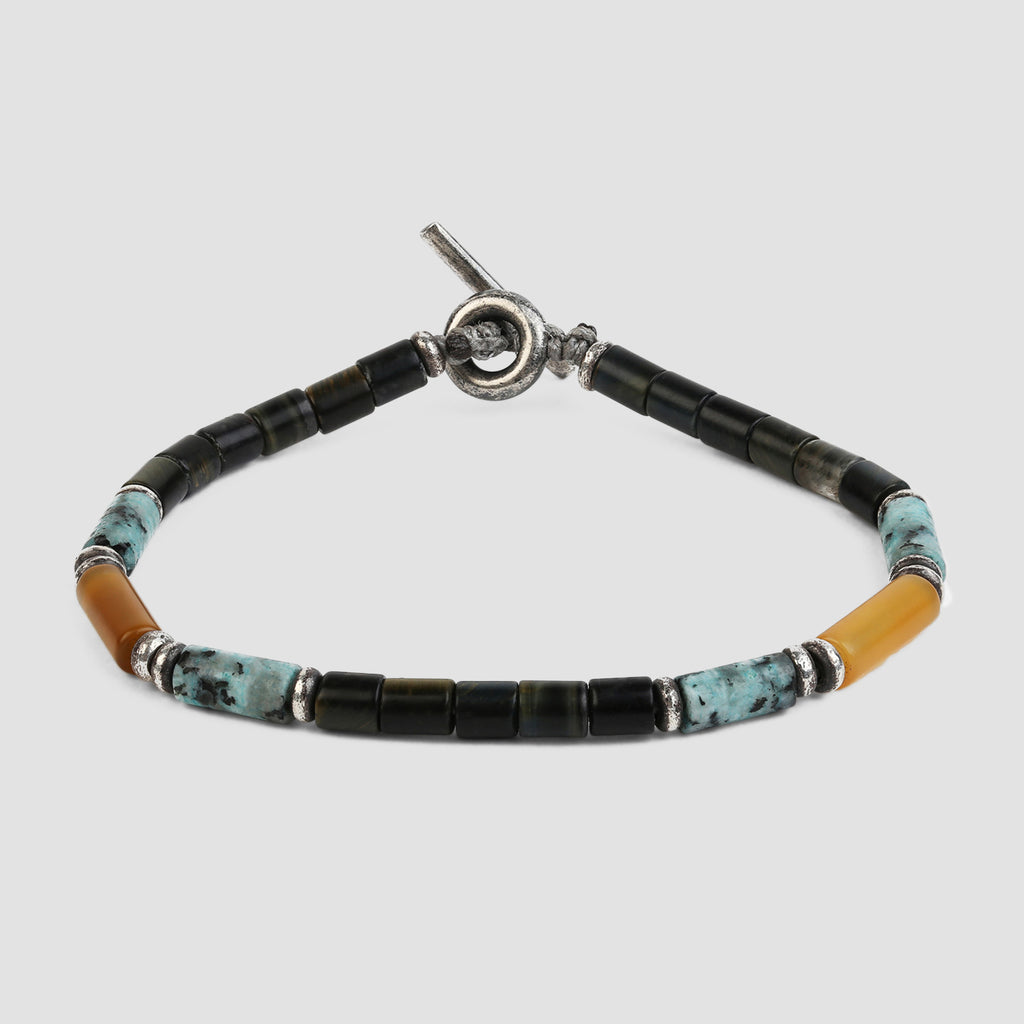 M. Cohen The Brace Bracelet Made of Mixed Gemstones Blue Tiger Eye