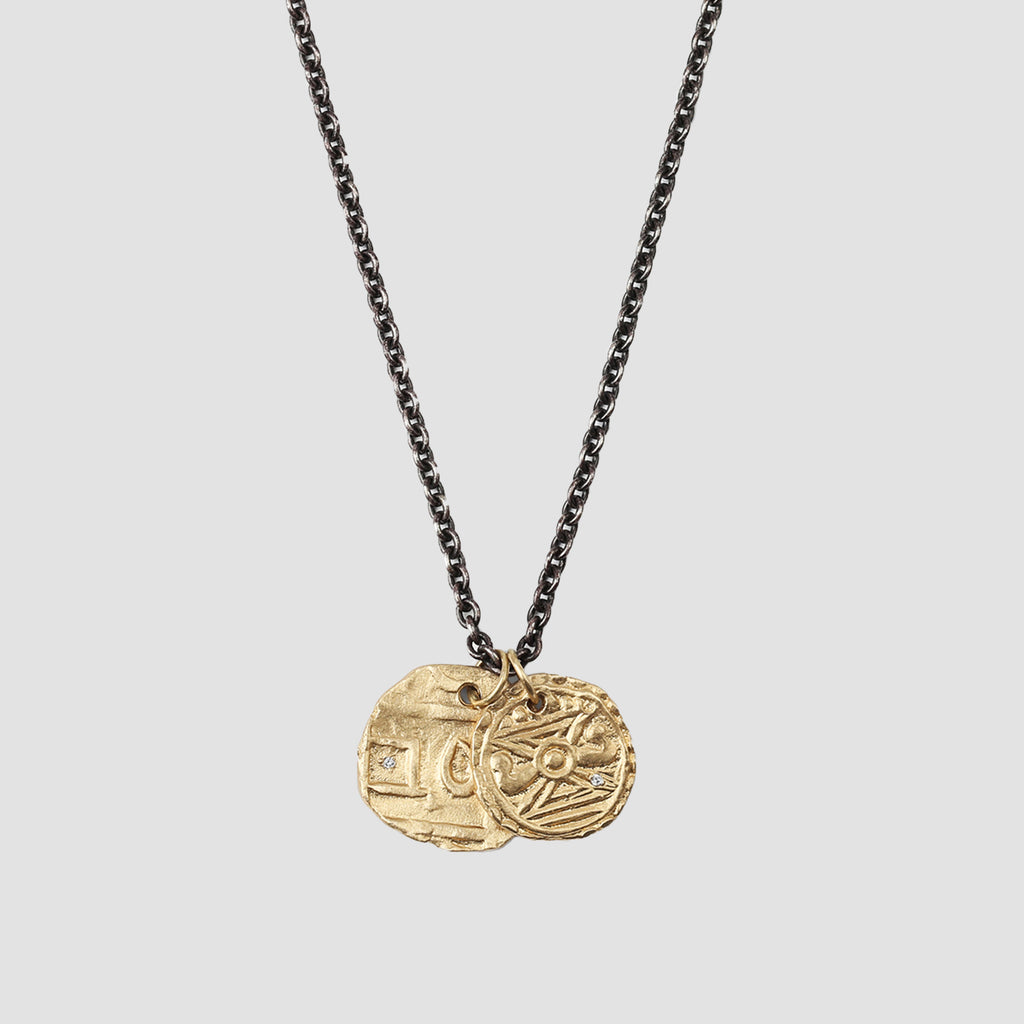 M. Cohen Gold Coins On Oxidized Chain Necklace