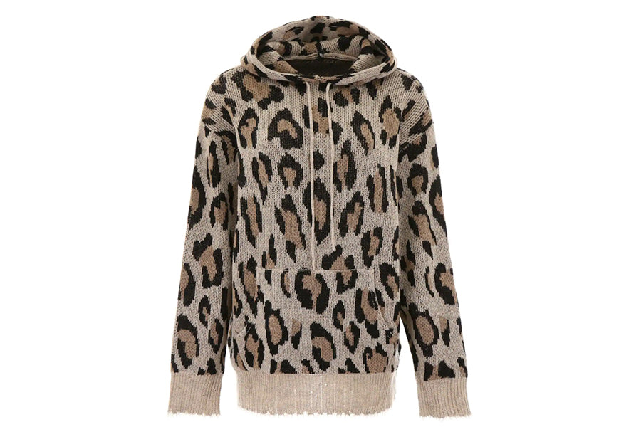 R13 Oversized LEOPARD-PRINTED KNIT HOODIE