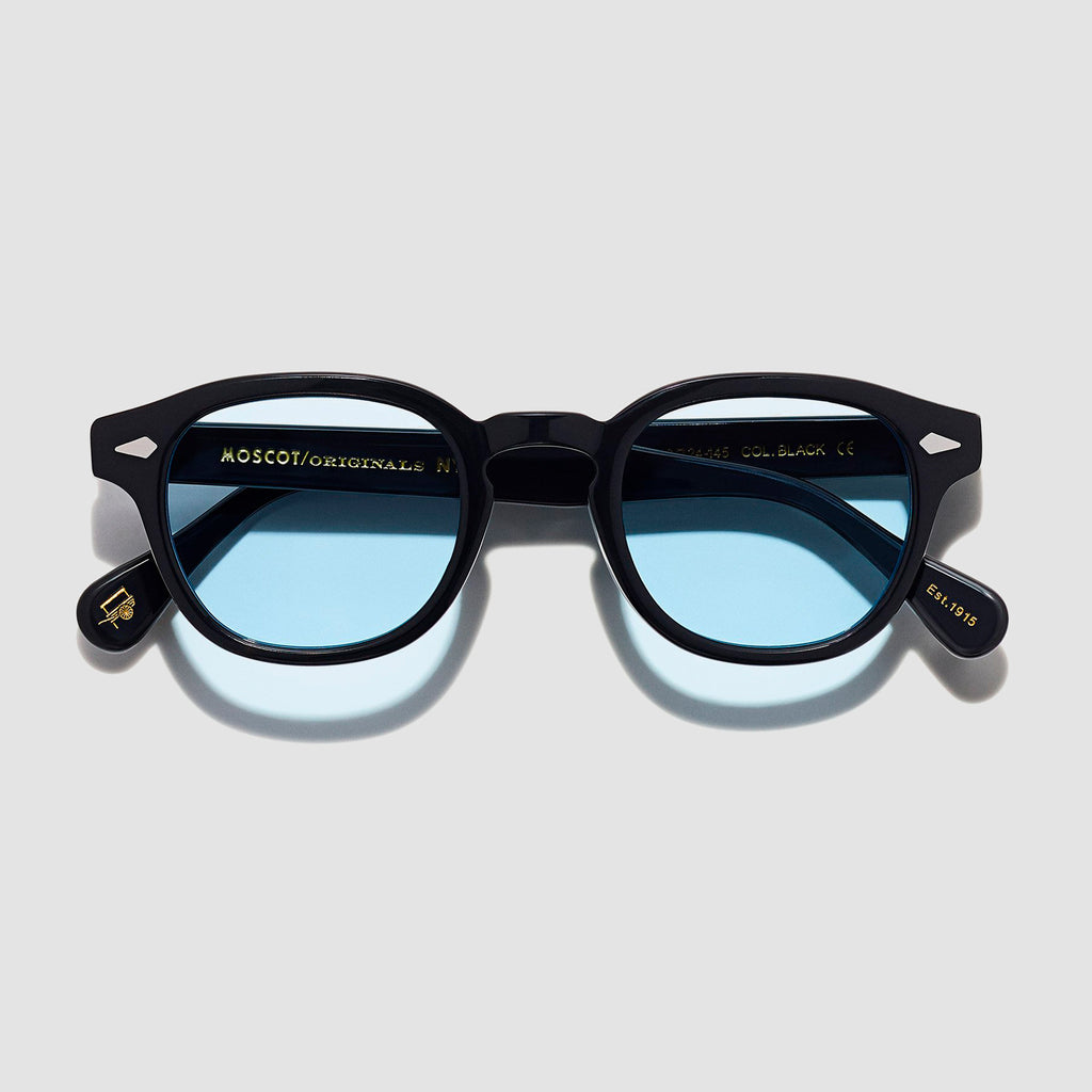 Moscot Lemtosh Black with Custom Made Tints™ Bel Air Blue