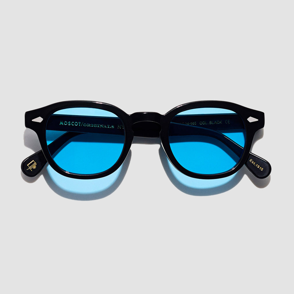 Moscot Lemtosh Black with Custom Made Tints™ Celebrity Blue