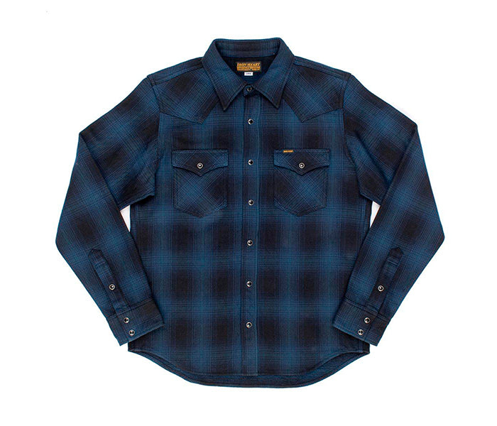 Iron Heart Ultra Heavy Flannel Ombré Check Western Shirt - Navy/Black